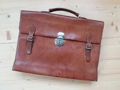 Stará kožená aktovka taška řemínky hnědá 30. léta b49794a8bf
