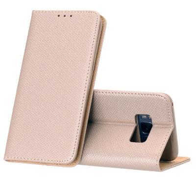 Flipové zlatorůžové polohovací pouzdro obal MAGNET pro Huawei P9 lite