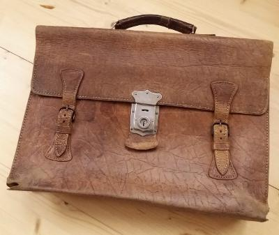 Stará kožená aktovka taška řemínky hnědá 40. léta 4cb146c830