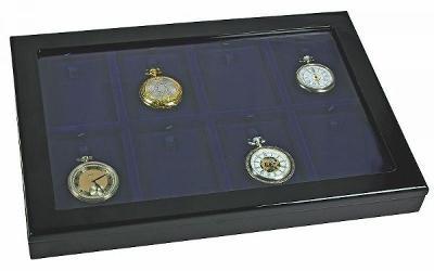 Dřevěná vitrína na uložení kapesních hodinek, 8 polí