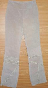 Krásné nové stylové kožené kalhoty (broušená kůže) zn. KIT XS/S 34/36