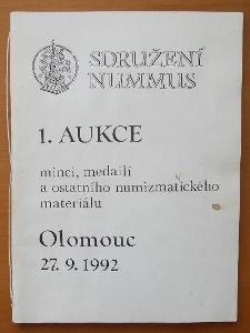 1.aukce mincí a medailí - Olomouc 1992