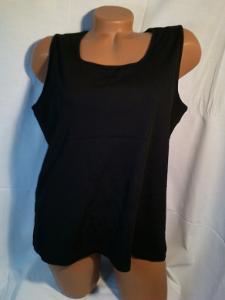 Černé tričko bez rukávů,plastické proužky, vel.44/46