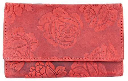 Kožená červená peněženka s ražbou s motivem růží + 1000 dalších 2a3fbfcb0e