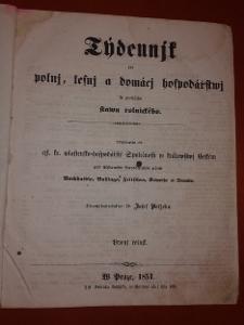 Týdenník pro polní, lesní a domácí hospodářství 1851