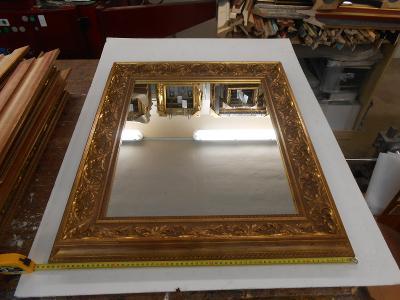Zrcadlo (lze vyjmout) + rám šíře 100mm,celkový rozměr cca 730x630mm