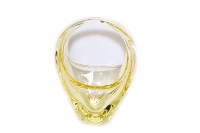 košík, hutní sklo, žlutý