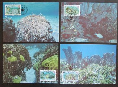 Tuvalu 1992 Korály 131 Mi# 638-41 Maxikarty WWF