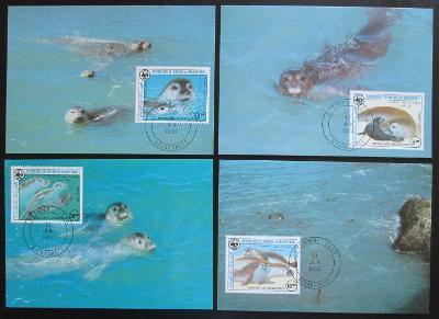 Mauretánie 1986 Tuleň 037 Mi# 871-74 Maxikarty WWF