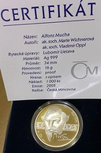 Velmi vzácná stříbrná pamětní medaile Alfons Mucha, PROOF, 2005