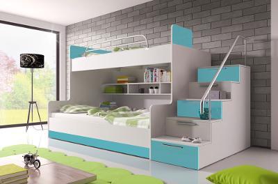 Praktická patrová postel RÁJ II pro děti a mládež / 7 barev!