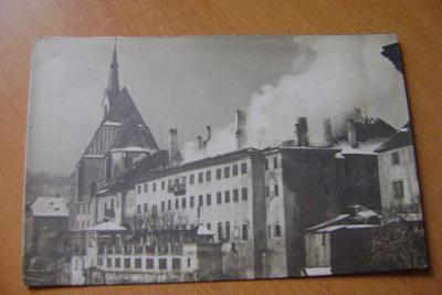 Český Krumlov-hotel - požár-foto Seidel, rok 1918