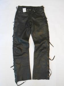Kožené šněrovací kalhoty vel. 38- pas: 68-76 cm