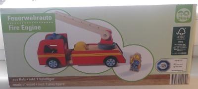 Hasičské auto, vozidlo, dřevěná hračka 28 cm, včetně hrací figurky