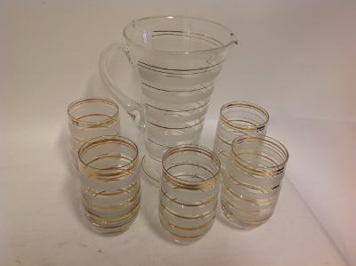 Džbán + 5 sklenic Retro zlatobílé pruhy