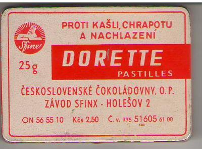 Plechová krabička na DORETTE pastilles SFINX 25 gr