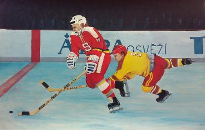 Originál neznámého autora - hokejista Jaroslav Šíma (1978)