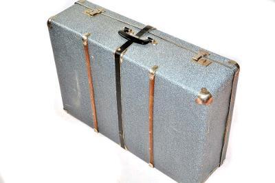 velký retro kufr KAZETO modrý