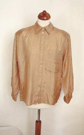Krásná hedvábná halenka košile světle hnedá 0b29587ed2