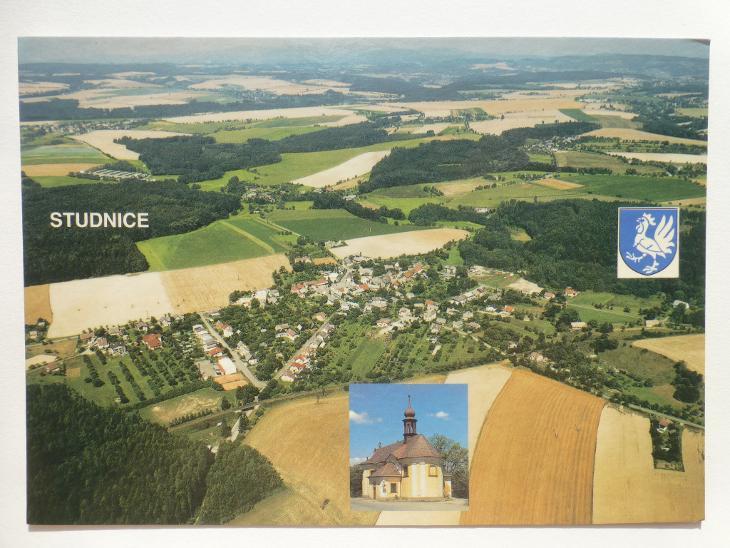 Studnice, Česká Skalice, okr. Náchod - letecký - ERB - Pohlednice