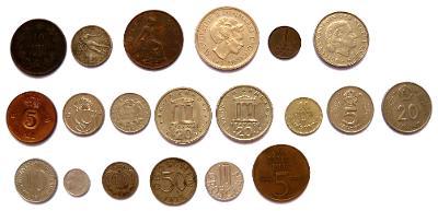 Evropa, konvolut 20 mincí, každá jiná