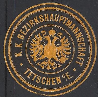 papírová pečeť c. k. okresní hejtmanství Děčín na Labi Tetschen Sudety