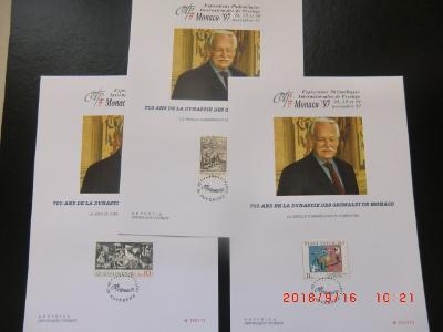 Sestava 3x Číslovaný pamětní list Monaco 97