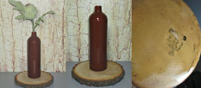 Stará keramická glazovaná láhev-váza J.Pita VD Brno,  značeno
