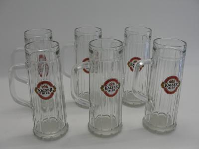 Skleněná pivní sklenice s uchem, sada 6 ks. Keiser Bier, Rakousko