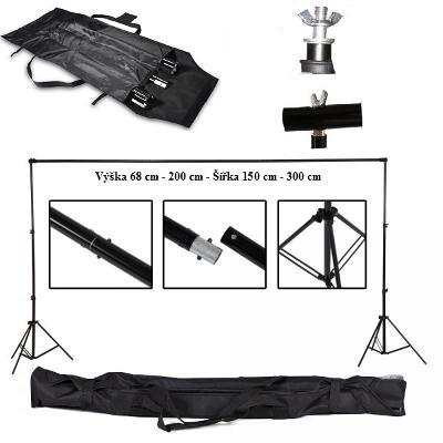 Petricard   Konstrukce pro foto pozadí s brašnou, výška 200 cm