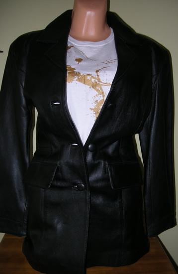 Černý kožený kabát sako zn. Steffel vel. 36/38 Nové