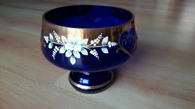 Skleněná mísa BOHEMIA Crystalex GLASS modrá cobalt blue, ruční práce