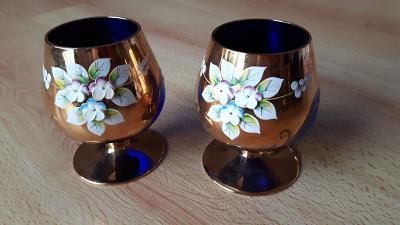 2x Skleněná číše BOHEMIA Crystalex GLASS modrá cobalt blue ruční práce