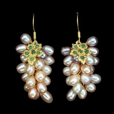 Náušnice s přírodními perlami a smaragdy,#2