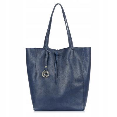 Luxusní Italská Kožená Kabelka Shopper Bag Loccati - tm.modrá acf1e418d1e