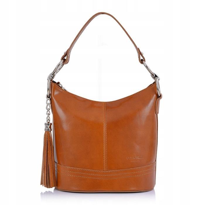 ce68cdc20a Luxusní Italská Kožená Kabelka Shopper Bag Vera Pelle - camel (6935690757)