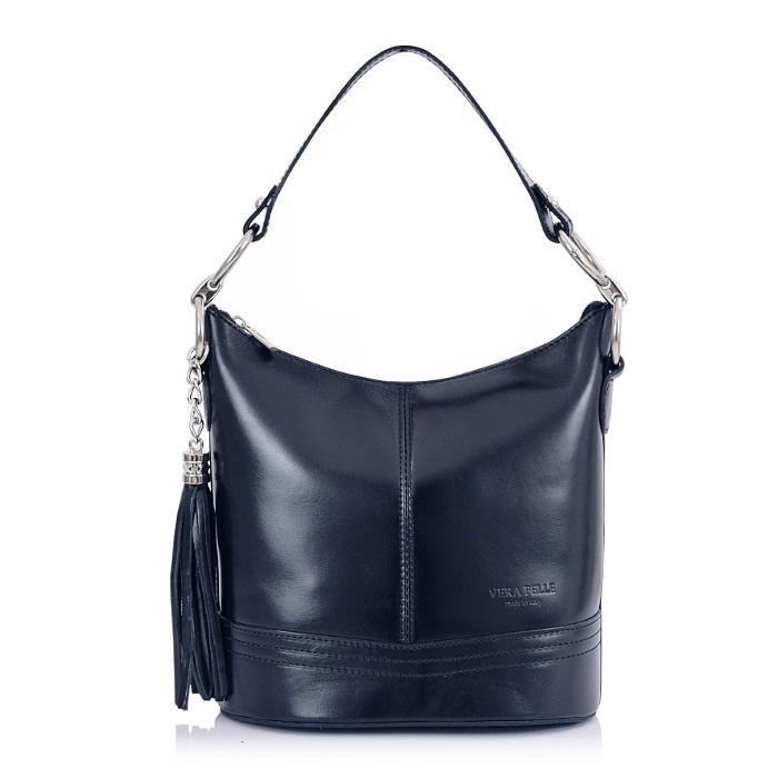 Luxusní Italská Kožená Kabelka Shopper Bag Vera Pelle - tmavomodrá  (6935690814) a42dd4e3804