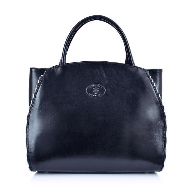 223f603832 Luxusní Italská Kožená Kabelka Shopper Bag Vera Pelle - tmavomodrá ...