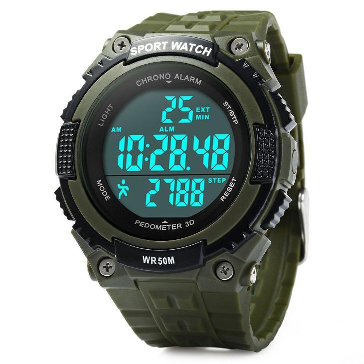 Hodinky SKMEI 1112 ARMY GREEN - pánské sportovní vodotěsné KROKOMĚR  (6940312109) 6804120868