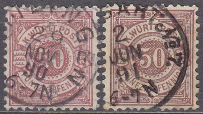 WÜRTTEMBERG 1890 - STARONĚMECKÝ STÁT Mi.: 58 - ražená - KRÁSNÝ KUS !!
