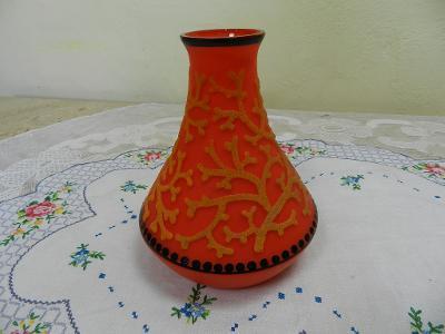 Zajímavá secesní Autorská oranžová Váza Jižní Čechy