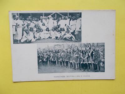 Praha Sokol slet 1912 Dopisnice Minerva Marathon hra vojín zbroj antik