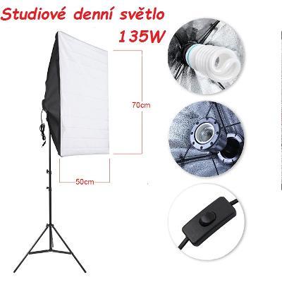 Trvalé studiové světlo 650W, fotografické studio, softbox, stativ