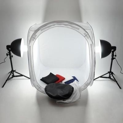 Petricard | Foto stan 150x150x150 cm, 4 pozadí, 2x 85 W, 2x stativ