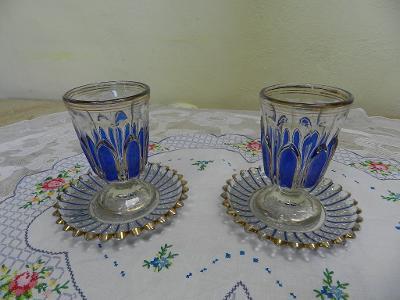 Krásná modrá secesní Sklenice Grogovka s talířkem 1 Kus