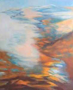 HORY V MLZE A SVĚTLE, orig. akryl, abstrakce