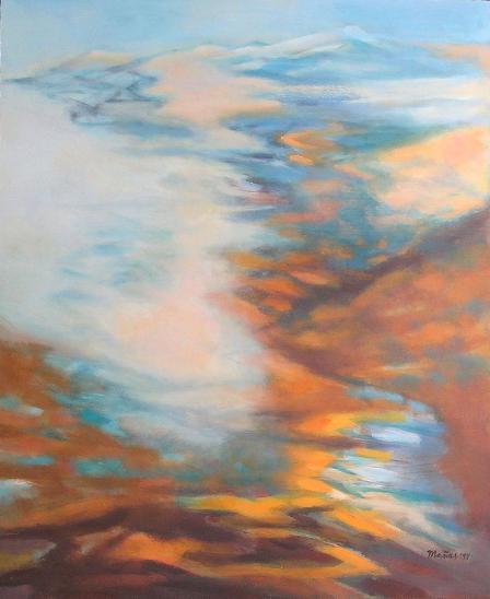 HORY V MLZE A SVĚTLE, orig. akryl, abstrakce - Umění