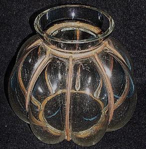 Váza skleněná retro historická umělecká čiré sklo