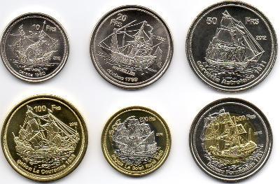 Bassas da India: kompletní sada 6 mincí 10-500 francs 2012 UNC