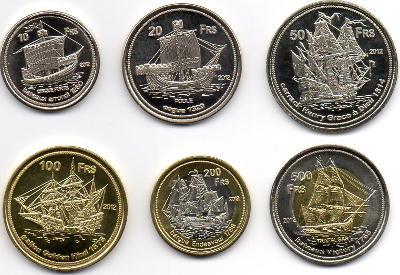 Europa: kompletní sada 6 mincí 10-500 francs 2012 UNC